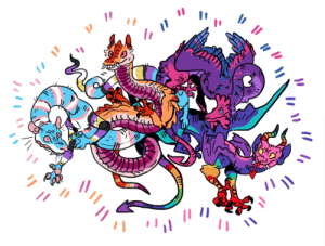 Lgbt, Target, and Tumblr: 1  Ir  フ realfootage:  kicking off pride month early with some somewhat blog relevant lgbt creatures!lesbian lindworm, gay gargoyle, bisexual basilisk, trans tatzelwurm.. hanging out in all their color clashing glory