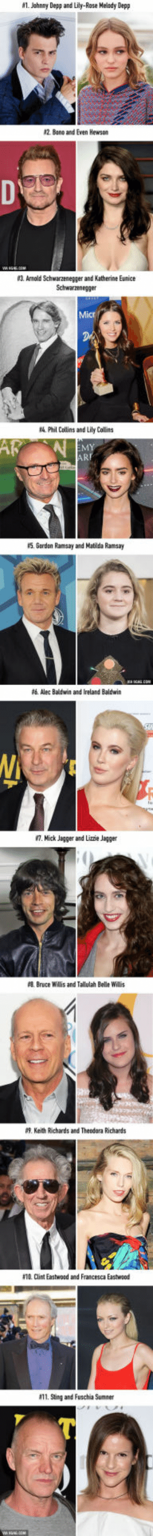 Arnold Schwarzenegger, Gordon Ramsay, and Johnny Depp:  #1. Johnny Depp and Lily-Rose Melody Depp  2 Bano and Even Hewsom  3. Arnold Schwarzenegger and Katherine Eunice  4 Phil Collins and Lily Colins  in  ART  เร, Gordon Ramsay and Matilda Ramsay  Alec Baldwin and Ireland Baldwin  #7. Mick Jagger and Lizzie Jagger  #8. Bruce Willis and Tallulah Belle Willis  9. Keith Richards and Theodora Richards  O. Clint Eastwond and Francesca Eastwaod  11. Sting and Fuschia Sumner 11 famous daughters who inherited their fathers' charm