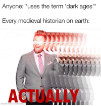 Earth, History, and Medieval: 1 k  Anyone: *uses the term 'dark ages*  Every medieval historian on earth:  ACTUALLY