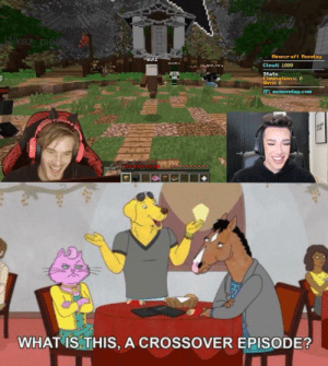 Minecraft, Guess, and What Is: 1/kaz pieu  Minecraft Monday  wulz  Noterai  Clout: 1000  AkLtwnnAu  Stats  Elininations: 0  Hins: 0  81  IP: nCRonday.com  eenie?22  WHAT IS THIS, A CROSSOVER EPISODE? I guess it is