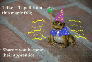 Magic, Frog, and Apprentice: 1 like 1 spell from  this magic frog  Share you become  their apprentice