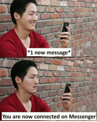 Memes, Connected, and Messenger: *1 new message*  You are now connected on Messenger Follow our new page - @sadcasm.co
