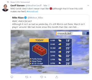 Bad, News, and Mean: 1 News12HV Retweeted  Geoff Bansen @WeatherGeoff - Mar 7  MAD brick! And I don't mean mad like  makes me feel!) #moodcast  (although that it how this cold  AMS  Mike Rizzo@Meteor Mike  #NYC #MOODCAST  Although it isn't as bad as yesterday, it's still #brick out there. March isn't  playin' around. We had more snow this month than Dec-Jan-Feb  moodcast  HYPER  LOCAL  6 AM 18  8 AM 20°  10 AM 25°  NOON 29°  3 PM 32  SPM32  8PMユ20。  TODAY  Partly Sunny  Stray Flurry  W 1 0-15 mph Retweeted by my local news station