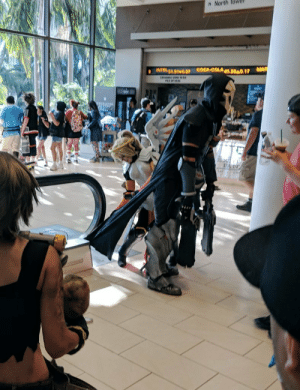 Mercy rescuing a Reaper who got his cloak caught in the escalator: 1 North lower  MA Mercy rescuing a Reaper who got his cloak caught in the escalator