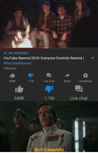 Beautiful, youtube.com, and Chat:  #1 ON TRENDING  YouTube Rewind 2018: Everyone Controls Rewind |  #YouTube Rewind  14M views  640K  1.1M  Live chat  Share  Download  640K  1.1M  Live chat  Oh It's beautiful. Im doing my part bois