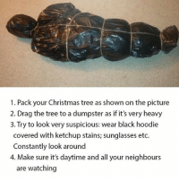 Dank Memes, Photos, and Ketchup: 1. Pack your Christmas tree as shown on the picture  2. Drag the tree to a dumpster as if it's very heavy  3. Try to look very suspicious: wear black hoodie  covered with ketchup stains; sunglasses etc.  Constantly look around  4. Make sure it's daytime and all your neighbours  are watching Haha yes 👏👌-(@phattmemes). • • • • • setup webdesign interface photography minimal applegeek interiordesign working mysetup desk photo desktop deskporn gaming computer apple nerd macbook elegance awesome gamingstuff officelife freelance work workspace office
