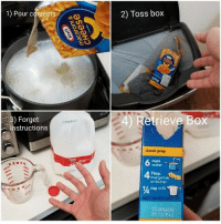 Every time I cook from a box. macandcheese cooking 9gag: 1) Pour conients  2) Toss box  20)  EO  2) Forget  instructions  Retrieve Box  classic prep  6 water-  cups  Tbsp.  margarine  or butter  1/ cup milk  BEST WHEN USED BY  25JAN2019  00 12CP42 Every time I cook from a box. macandcheese cooking 9gag