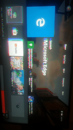 I think my tv had a heart attack: 1 profile  Home  Game Pass  Mixer  Community  Store  Launch  Microsoft Edge  Subscription suspended.  Update payment info &..  New message from  Xbox Live  Square Enix Sale  Get awesome deal  BAME  PAS  gRand  thert  YouTube  Get 2 months for $2  My games  &apps  Sear  Re Desd Redomotion 2 I think my tv had a heart attack