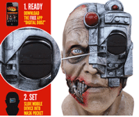 novelty-gift-ideas:  Animated Scanning Cyborg Adult Mask: 1. READY  DOWNLOAD  THE FREE APP  DIGITAL DUDZ  2. SET  SUIDE MOBILE  DEVICE INTO  K POCKET novelty-gift-ideas:  Animated Scanning Cyborg Adult Mask