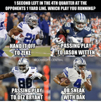 Which play you running? 🤔 CowboysNation: 1 SECOND LEFTIN THE 4TH QUARTER ATTHE  OPPONENTS 1YARD LINE WHICHPLAY YOU RUNNING?  PASSING PLAY  HAND ITOFF  TO JASON WITTEN  TOZEKE  @COWBOYS CENTRAL  QB SNEAK  PASSING PLAY  WITH DAK  TO DEZBRYANT Which play you running? 🤔 CowboysNation