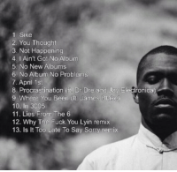 FRANK OCEAN'S ALBUM TRACKLIST REVEALED: 1 Sike  2. You Thought  3. Not Happening  4. I Ain't Got No Album  5. No New Albums  6 No Album No Problems  7. April 1st  8. Procrastination it, Dr Dre and  Jay Electronica)  9 Where You Been (n. James Blake  10. In  3005  11. Lies From The 6  12. Why The uck You Lyin remix  13. Is It Too Late To Say Sorry remix FRANK OCEAN'S ALBUM TRACKLIST REVEALED