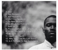 Where's frank oceans new album? All we have is this track list 😪: 1 Sike  2. You Thought  3, Not Happening  4. I Ain't Got No Album  5. No New Albums  6 No Album No Problems  7. April 1st  8. Procrastination (it Dr Dre and Jay Electronica)  9 Where You Been (ft. James Blake)  10. In 3005  11. Lies From The 6  12. Why The Fuck You Lyin remix  13. ls lt Too Late To Say Sorry remix Where's frank oceans new album? All we have is this track list 😪