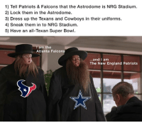 I've got an idea guys...: 1) Tell Patriots & Falcons that the Astrodome is NRG Stadium.  2) Lock them in the Astrodome.  3) Dress up the Texans and Cowboys in their uniforms.  4) sneak them in to NRG Stadium.  5) Have an all-Texan Super Bowl.  am the  Atlanta Falcon  and I am  The New England Patriots I've got an idea guys...