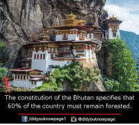Memes, Constitution, and Bhutan: 1  The constitution of the Bhutan specifies that  60% of the country must remain forested  f/didyouknowpagel@didyouknowpage