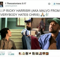 shit what: 1 Thessalonians 5:17  Follo  @harreyjackson  R.I.P RICKY HARRIS!!! (AKA MALVO FROM  EVERYBODY HATES CHRIS)  TWEETS LIKES  3,737 11,656 shit what