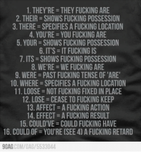 9gag, Dank, and Fucking: 1. THEY RE-THEY FUCKING ARE  2. THEIR SHOWS FUCKING POSSESSION  3. THERE SPECIFIES A FUCKING LOCATION  4. YOU'RE YOU FUCKING ARE  5. YOUR SHOWS FUCKING POSSESSION  6. ITS -IT FUCKING IS  7. ITS SHOWS FUCKING POSSESSION  8. WE'RE WEFUCKING ARE  9. WERE PAST FUCKING TENSE OF 'ARE  10. WHERE SPECIFIES A FUCKING LOCATION  11. LOOSE NOT FUCKING FIXED IN PLACE  12. LOSE CEASE TO FUCKING KEEP  13. AFFECT AFUCKING ACTION  14. EFFECT AFUCKING RESULT  15. COULD'VE COULD FUCKING HAVE  16. COULD OF YOU'RE CSEE 4) A FUCKING RETARD  9GAG  COM/GA /5533044 For all the Grammar Nazis http://9gag.com/gag/5533044