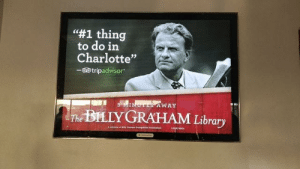 """I think I want to hear the story behind this: """"#1 thing  to do in  Charlotte""""  -60 tripadvisor.  AWAY  The BILLYGRAHAM Library I think I want to hear the story behind this"""