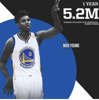 Memes, Nba, and Nick Young: 1 YEAR  5,2M  SIGINING WITH GSW OVER MINNESOTA,  AMONG OTHERS  NICK YOUNG  ARRIO The Warriors are turning memes into champions right and left. @jacobmdesigns Tags: NickYoung NBA Warriors