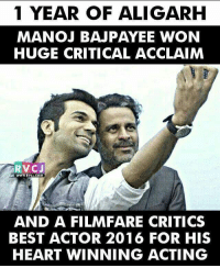 Memes, Best Actor, and 🤖: 1 YEAR OF ALI GARH  MANOJ BAJPAYEE WON  HUGE CRITICAL ACCLAIM  RVC J  WYWINAVCI, COM  AND A FILMFARE CRITICS  BEST ACTOR 2016 FOR HIS  HEART WINNING ACTING 1 year of Aligarh rvcjinsta