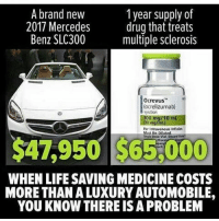 America, cnn.com, and Love: 1 year supply of  A brand new  2017 Mercedes  drug that treats  Benz SLC300  multiple sclerosis  0crevus  ocrelizumab)  For Intra  Must Be Diluted  Single Dose Vial  $4,950 WHEN LIFESAVING MEDICINE COSTS  MORE THANALUXURY AUTOMOBILE,  YOU KNOW THERE ISA PROBLEM Thoughts ? ☝ FuckTheGovenment WeAreAnonymous Anonymous WW3 TruthMedia Army_anons CorruptedSystem CNN HumanRights Allah Islam MuslimBan WarCrimes Love BigPharma Saudi America Turkey Israel UnitedKingdom NATO UnitedNations Russia Korea Syria Iraq Libya FreePalestine BoycottIsrael.