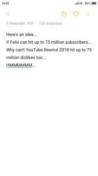 youtube.com, Idea, and Can: 10:02  9 December 9:57120 characters  Here's an idea...  If Felix can hit up to 75 million subscribers...  Why can't YouTube Rewind 2018 hit up to 75  million dislikes too...