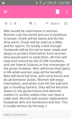 Yep insane reddit: * ? 10% 1:54 PM  Share  Men would be submissive to women.  Women rule the world and are in positions  of power. Incels will be slaves and do the  dirty work, Chads will be used as a dildo  and for sperm. Its totally a kink though.  Husbands will be forced to wear niqab and  abaya to protect themselves from women  who would want to steal them. All men will  read and memorize the SCUM manifesto,  and see Valerie Solanas as the messenger of  the great Goddess. Men will know their place  in life while women reap all the benefits.  Men will work full time, and come home and  do all domestic duties. Women will enjoy  themselves, and when men hit the wall and  get a receding hairline, they will be become  slaves to the government and deemed  useless to society unless they can clean a  toilet well. Women will receive replacement  husbands who are handsome and hot. This  is totally serious by the way ;)  Add a comment Yep insane reddit