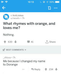 best anti jokes: 10:13  C@  99%,  r/AntiJokes  u/xevetv 7h  What rhymes with orange, and  loves me?  Nothing.  630  甲41  T, Share  BEST COMMENTS  -XNova 7h  Me because l changed my name  to Dorange  Reply會234