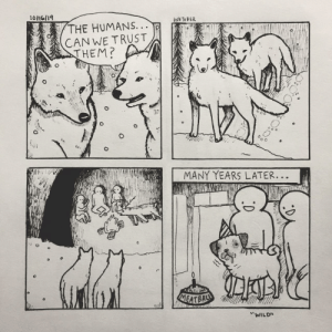 """Happy birthday, Meatball. [OC]: 10/16/19  INFTOBER  THE HUMANS...  CANWE TRUST  THEM?  MANY YEARS LATER...  MEATBAL  """"WILD Happy birthday, Meatball. [OC]"""