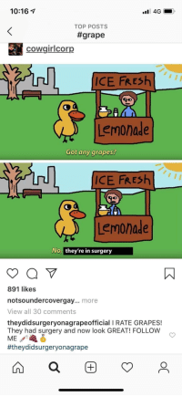 10:16 7  TOP POSTS  #grape  cowgiricorp  ICE FRESh  Lemonade  Got any grapes?  ICE FRESh  Lemonade  No, they're in surgery  891 likes  notsoundercovergay... more  View all 30 comments  theydidsurgeryonagrapeofficial I RATE GRAPES!  They had surgery and now look GREAT! FOLLOW