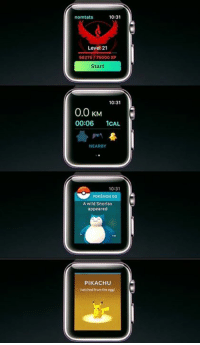 During today's Apple Event, it was announced that Pokémon GO is to come to the Apple Watch. It will provide various features including checking PokéStops and finding wild Pokémon, as well as hatching eggs. Will you get this version? Full details @ http://www.serebii.net/index2.shtml: 10:31  norm tats  Level 21  56275/75000 XP  Start  10:31  0.0 KM  00:06  1CAL  NEARBY  10:31  POKEMON GO  A wild Snorlax  appeared  PIKACHU  hatched from the egg During today's Apple Event, it was announced that Pokémon GO is to come to the Apple Watch. It will provide various features including checking PokéStops and finding wild Pokémon, as well as hatching eggs. Will you get this version? Full details @ http://www.serebii.net/index2.shtml