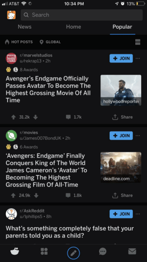 Movies, News, and Parents: 10:34 PM  13% I  I AT&T  Q Search  Popular  News  Home  HOT POSTS  GLOBAL  MARVEL r/marvelstudios  STUDIOS u/rekrap13 2h  + JOIN  S 8 Awards  Avenger's Endgame Officially  Passes Avatar To Become The  Highest Grossing Movie Of All  Time  hollywoodreporte  31.2k  1.7k  Share  r/movies  + JOIN  u/James007BondUK 2h  S 6 Awards  A  'Avengers: Endgame' Finally  Conquers King of The World  James Cameron's 'Avatar' To  Becoming The Highest  Grossing Film Of All-Time  deadline.com  TShare  24.9k  1.8k  r/AskReddit  + JOIN  u/lphillips5 8h  What's something completely false that your  parents told you as a child? We won Mr. Stark