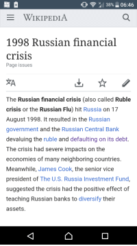 "the russian ruble crisis and its aftermath at the end of part 4 The russian crisis of 1998 was really an extension of the asian currency crisis of 1997 (the ""asian flu"") the combination of declining economic output, falling oil prices, enormous budget deficits, and a currency pegged to the rising us dollar overwhelmed the fledgling russian government."