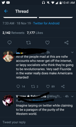 Android, Internet, and Meme: 10:41 AM  Thread  7:33 AM 18 Nov 19 Twitter for Android  2,142 Retweets 7,177 Likes  5h  All of the people mad at this are nsfw  accounts who never get off the internet,  or larpy socialists who think they're going  to be revolutionaries. Very sad! Fluoride  in the water really does make Americans  retarded!  Li 2  89  14  ra @WingTr... :4h  Salve  Vas  xistence  R ply  ~ to Manoct-l  Imagine larping on twitter while claiming  to be a paragon of the purity of the  Western world.  Tweet your reply Person posts meme saying porn destoryes relationships gets backlash and says this.