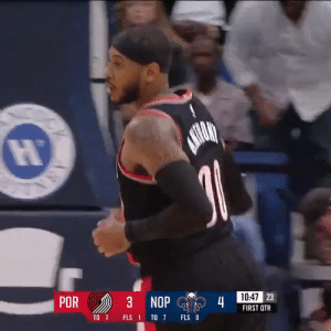 Carmelo Anthony's debut with the Blazers!   24 MINS  10 PTS 4-14 FG 2-3 3PT 4 REB 5 TO 5 PF  1 BLK   https://t.co/2WTReBvh3i: 10:47 23  POR  3 NOP  4  FIRST QTR  TO 7  FLS O  FLS 1 TO 7  ANA Carmelo Anthony's debut with the Blazers!   24 MINS  10 PTS 4-14 FG 2-3 3PT 4 REB 5 TO 5 PF  1 BLK   https://t.co/2WTReBvh3i