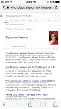 "Crush, Movies, and News: 10:50 PM  97%  No SIM  a who plays sigourney weaver in C  le who plays sigourney weaver in finding dory  All News mages  Videos  Shopping  More  Settings  Tools  About 174,000 results (0.67 seconds)  Finding Dory Sigourney Weaver Played by  Sigourney Weaver  Movies and overview  Feedback  How Sigourney Weaver Became a Finding Dory Scen  www.ee online.com/news/.. /how-sigourney-weaver-became-a-finding-dory-scene-steal...  Oct 19, 2016  How Sigourney Weaver Became a Finding  Dory Scene Stealer. By. & says Stanton, who also voices  Crush the sea turtle. ""As a matter of fact  How Sigourney Weaver and Ed O'Neill wound up in Fi...  wound-up-in-  Jun 20, 2016 How Sigourney Weaver and Ed O'Neill  wound up in Finding Dory  in on the joke she just  thought it was a hoot that she could play herself.  Why was Sigourney Weaver featured in Finding Dory?  https://www.quora.com/Why-was-Sigourney-Weaver-featured-in-Finding-Dory  The best source l could find explaining Sigourney Weaver's  role in Finding Dory was an Sigourney Weaver (actor)  Finding Dory (2016 movie) Pixar Movies.  Finding Dory (2016) Full Cast & Crew lMDb  www.imdb.com/title/t 2277860fullcredits/  Finding Dory (2016) cast and crew credits, including actors,  m"