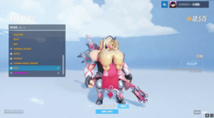 Devil, Chat, and Pink: 10,575  SKINS 17/18  VALKYRIIE  DEVIL  IMP  WINGED VICTORY  WITCH  ZHUQUE  COMBAT MEDIC ZIEGLER  PINK  EQUIP  UNLOCKED WITHPURCHASE OF PINK  CHARITY  EAPONS NEXT  PRESS ENTER TO CHAT  HERO INFO  ESCAPE  9