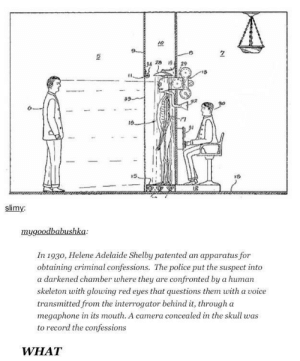 Police, Camera, and Definition: 10  7  15  slimy  mygoodbabushka  In 1930, Helene Adelaide Shelby patented an apparatus for  obtaining criminal confessions. The police put the suspect into  a darkened chamber where they are confronted by a human  skeleton with glowing red eyes that questions them with a voice  transmitted from the interrogator behind it, througha  megaphone in its mouth. A camera concealed in the skull was  to record the confessions  WHAT The very definition of underappreciated genius