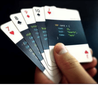 "'Code:Deck' are playing cards for programmers.: 10  9  var card {  Syste  rank: 11,  suit: ""hearts,  name: ""Jack""  fina $car  statf arr  pr 'Code:Deck' are playing cards for programmers."
