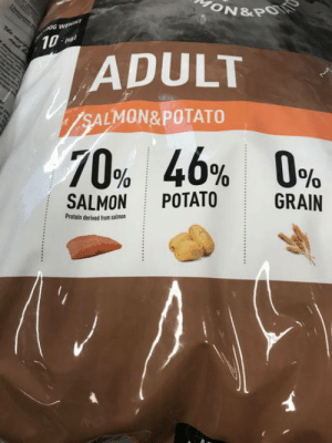 Club, Food, and Protein: 10  ADULT  LMON& POTATO  70%  46%  0%  SALMON POTATO  GRAN  Protein derived from salmoo laughoutloud-club:  116% dog food, what a great deal!