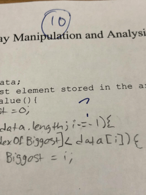 my APCS teacher didn't like the i-=-1: 10  ay Manipulation and Analysi  ata;  st element stored in the ar  alue (){  st%3D03B  data.length;i-=-1){  lex Of Biggost]< data [i])E  Biggost = i; my APCS teacher didn't like the i-=-1