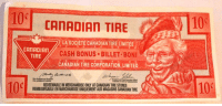 Canada's Most Popular Bookmark: 10  CAnADIAn TIRE  LA SOCIETE CANADIAN TIRELIMITEE  CANADIAN  CASH BONUS BILLET BONI  TIRE  CANADIAN TIRE CORPORATION, LIMITED  REDEEMABLEIN MERCHANDISE ONLY AT CANADIAN TIRE STORES  REMBOURSABLE EN MARCHANDISE UNIQUEMENTAUXMAGASINS CANADIAN TIRE Canada's Most Popular Bookmark