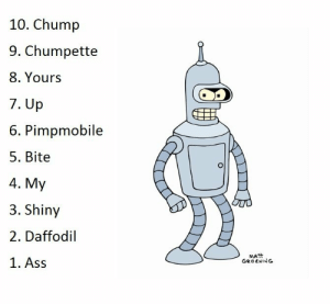 Ass, Click, and Tumblr: 10. Chump  9. Chumpette  8. Yours  7. Up  6. Pimpmobile  5. Bite  4. My  3. Shiny  2. Daffodil  1. Ass  MATT  GROENING scifiseries:  Before you click on this link and find out, can you name Bender's top 10 most frequently uttered words?