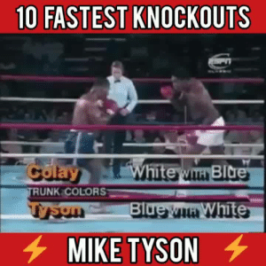 Memes, Mike Tyson, and White: 10 FASTEST KNOCKOUTS  RUNK COLORS  Bl  White  MIKE TYSON