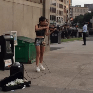 """Goals, Saw, and Target: 10  FREF  Banner goaaaldigger: lisuje:  onlyblackgirl:  themaskednegro:  jessicaellencornish:  bettyfelon:  The other day, we saw this violinist performing """"Bang Bang"""" near Park Street and I'm still totally 😻😻😻 over her!  WHAT THE HECK!? This is so cool!  Girl in the background that just walks up and immediately starts getting down  I see her all the time.  GOALS!!!   who is she though"""
