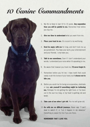 """Simply one of our favorite posts! LIKE & SHARE to pass on this beautiful image.  CLICK-► I Love My Dog (Like Us) and please SHARE a Photo of your dog!: 10 Ganine Commndments  1. My life is likely to last 10 to 15 years. Any separation  from you will be painful to me. Remember that before  you buy me.  2. Give me time to understand what you want from me.  3. Place your trust in me. It's crucial to my wellbeing.  4. Dont be angry with me for long, and don't lock me up  as punishment. You have your work, your entertainment  and your friends. I only have you.  5. Talk to me sometimes. Even if I don't understand your  words, lunderstand your voice when it's speaking to me.  6. Be aware that however you treat me, I1l never forget it.  7. Remember before you hit me: I have teeth that could  easily crush the bones of your hand, but I choose not to  bite you  8. Before you scold me for being un-cooperative, obstinate  or lazy, ask yourself if something might be bothering  me. Perhaps I'm not getting the right food, or I've been  out in the sun too long, or my heart is getting old and  weak  9.  Take care of me when I get old. You too will grow old.  10. Go with me on difficult journeys. Never say 1 cant  bear to watch it', or """"Let it happen in my absence.  Everything is easier for me if you are there.  REMEMBER THAT I LOVE YOU Simply one of our favorite posts! LIKE & SHARE to pass on this beautiful image.  CLICK-► I Love My Dog (Like Us) and please SHARE a Photo of your dog!"""
