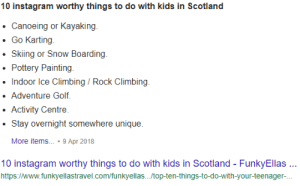 Climbing, Instagram, and Golf: 10 instagram worthy things to do with kids in Scotland  Canoeing or Kayaking  Go Karting  .Skiing or Snow Boarding  Pottery Painting  Indoor Ice Climbing/Rock Climbing  Adventure Golf  Activity Centre  .Stay overnight somewhere unique.  More items..9 Apr 2018  10 instagram worthy things to do with kids in Scotland FunkyEllas  https://www.funkyellastravel.com/funkyellas.../top-ten-things-to-do-with-your-teenager- Guess what country I live in.