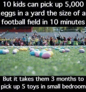 True don't get me started on the teens lol: 10 kids can pick up 5,000  eggs in a yard the size of a  football field in 10 minutes  But it takes them 3 months to  pick up 5 toys in small bedroom True don't get me started on the teens lol