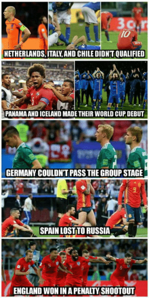 laughoutloud-club:  This is definitely the most surprising World Cup ever: 10  NETHERLANDS,ITALY, AND CHILE DIDN'T QUALIFIED  PANAMA AND ICELAND MADE THEIR WORLD CUP DEBUT  GERMANY COULDN'T PASS THE GROUP STAGE  SPAIN LOST TO RUSSIA  ENGLAND WON IN A PENALTY SHOOTOUT laughoutloud-club:  This is definitely the most surprising World Cup ever