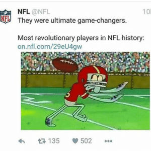 Nfl, Steve Smith, and True: 10  NFL @NFL  They were ultimate game-changers.  NF  Most revolutionary players in NFL history:  on.nfl.com/29eU4qw  讶135 eo 502 … Steve Smith: A True Legend