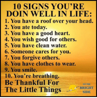 "Clothes, Head, and Life: 10 SIGNS YOU'RE  DOIN WELL IN LIFE:  1. You have a roof over vour head.  2. You ate today.  3. You have a good heart.  4. You wish good for others.  5. You have clean water.  6. Someone cares for you.  7. You forgive others.  8. You have clothes to wear.  9. You smile.  10. You're breathing.  Be Thankful For  ON THE  BRIGHT  SIDE  ,""""BR  The Little Thing On The Bright Side ❤️"